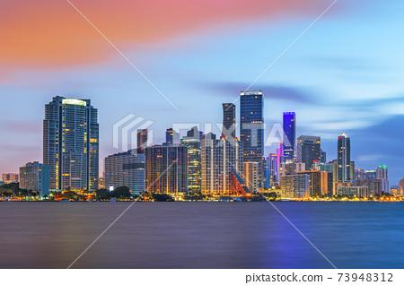 Miami, Florida, USA Downtown Skyline on the Water 73948312