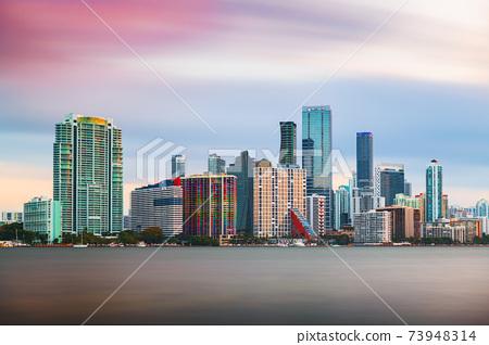 Miami, Florida, USA Downtown Skyline on the Water 73948314