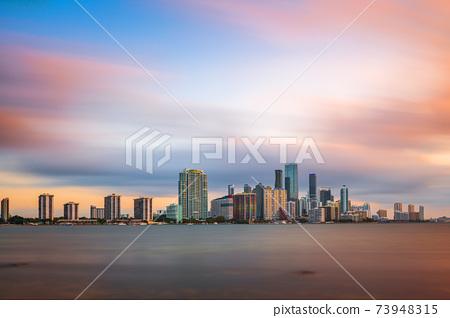 Miami, Florida, USA Downtown Skyline on the Water 73948315