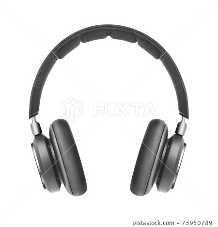 Wireless Headphones with Touch Controls Isolated on White Background. Front View of Black and Steel Stereo Bluetooth Headset with Active Noise Reduction Inline Mic Integrated Microphone 73950789