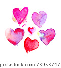 Set of colourfull cute watercolour hearts. 73953747