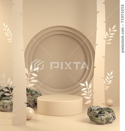 Mockup Display With Beige Paper Art Forest Concept Abstract Background 3d Render 73955058