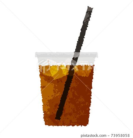 水彩風格,簡單的咖啡館外賣杯冰茶 73958058