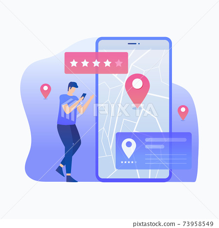 Location review illustration concept 73958549