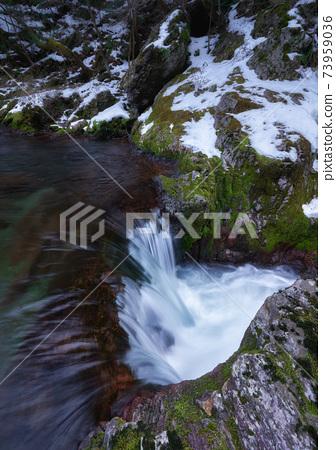 청류가 흐르고 눈이 남아있는 계곡. 에히메 현 우 치코 정의 小田深山 계곡 폭포. 73959036