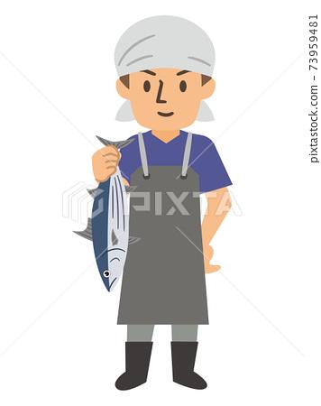 在魚販子里工作的年輕人 73959481