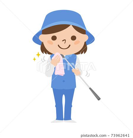 球童路線女性高爾夫球例證工作。清洗高爾夫俱樂部的婦女與毛巾。 73962641