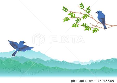 新鮮的山脈和藍鳥矢量插畫 73963569