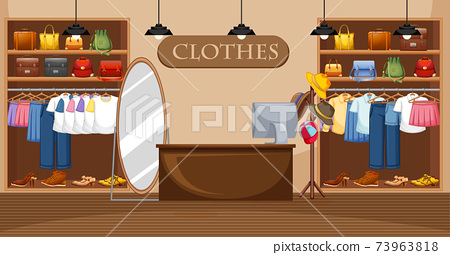 Fashion clothes store background 73963818