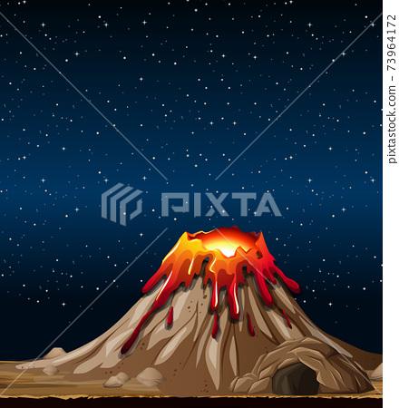 Volcano eruption in nature scene at night 73964172