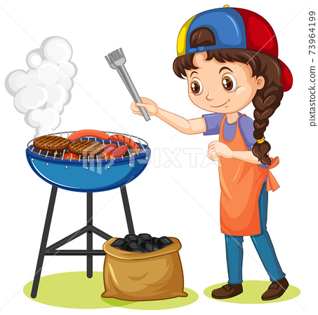 Girl and grill stove with food on white background 73964199
