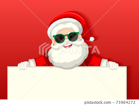 Cute Santa Claus wearing sunglasses cartoon character holding blank banner on red background 73964272