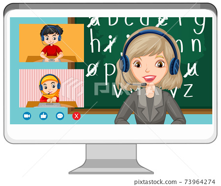 Student video chat online screen on computer screen on white background 73964274