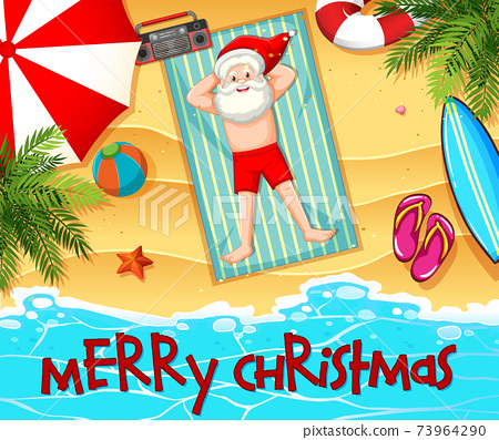 Santa Claus taking sun bath at the beach with summer element and merry christmas font 73964290