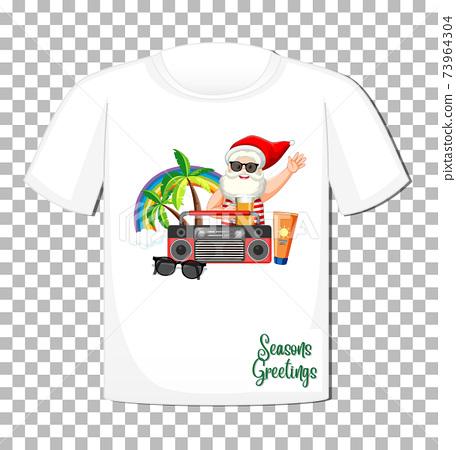 Santa Claus in summer costume cartoon character on t-shirt isolated on transparent background 73964304