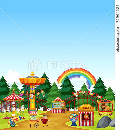 Amusement park scene at daytime with blank bright blue sky 73964323