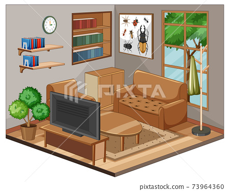 Living room interior with furniture 73964360