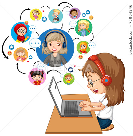 Side view of a girl using laptop for communicate video conference with teacher and friends on white background 73964546