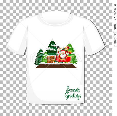 Santa Claus cartoon character on t-shirt isolated on transparent background 73964618