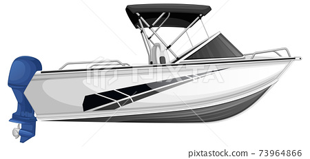 Speed boat or power boat isolated on white background 73964866