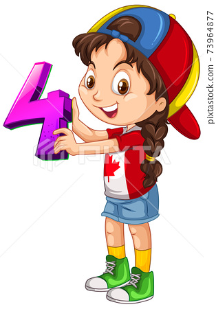 Canadian girl wearing cap holding math number four 73964877