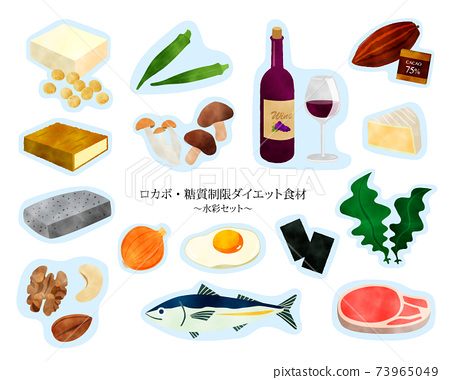 Carbohydrate restriction / Low-carbohydrate / Rokabo / Diet / Ingredients / Watercolor set / Blue border 73965049
