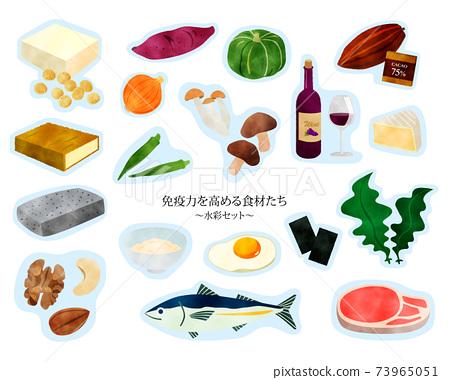 면역력을 높이는 음식들 / 건강 / 수채화 세트 / 파랑 경계선 73965051
