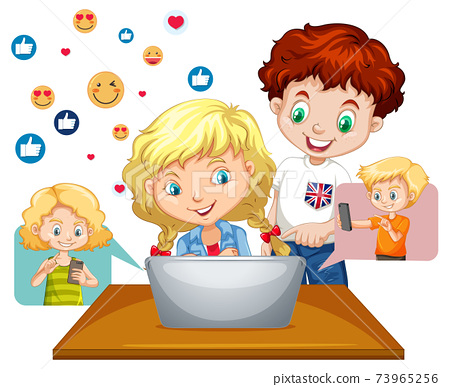 Children with social media elements on white background 73965256