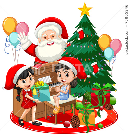 Santa Claus with two girls playing piano with christmas tree on white background 73965546