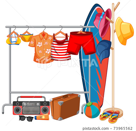 Isolated clothes on the rack display 73965562