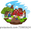Farm with red barn and windmill on white background 73965624