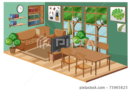 Living room interior with furniture and green wall 73965625