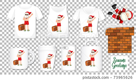 Santa Claus dancing cartoon character with set of different clothes and accessories products on transparent background 73965626