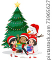 Children wear Christmas costume cartoon character with snowman on white background 73965627