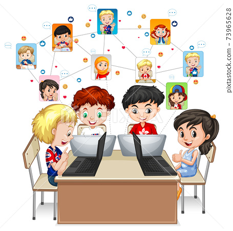 Children using laptop for communicate video conference with teacher and friends on white background 73965628