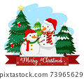 Two snowman with merry christmas font 73965629