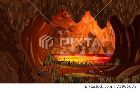 Infernal dark cave with lava scene 73965635