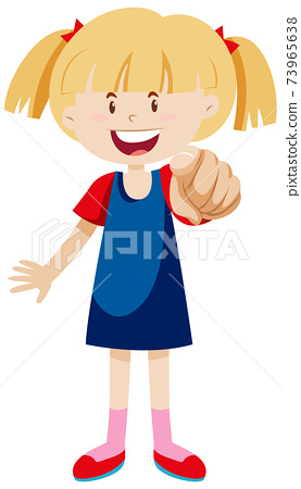 A girl pointing index finger in positive mood in standing position isolated 73965638