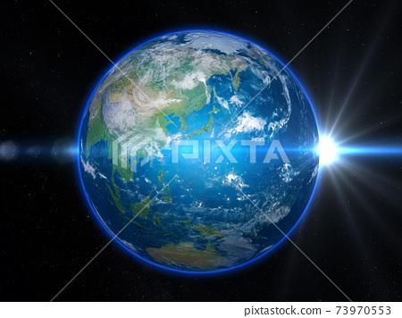 地球:日本群島周圍的日出光 73970553