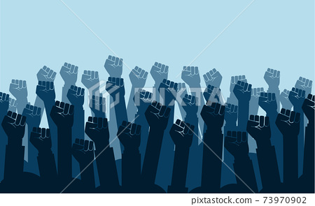 Group of fists raised in air. Group of protestors fists raised up in the air vector illustration 73970902