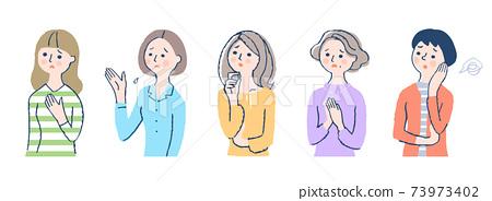 어려움을 겪고있는 여성 5 명 세트 73973402