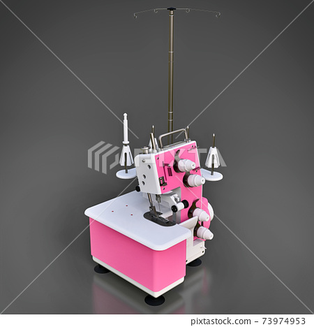Pink overlock on a grey background. Equipment for sewing production. Sewing clothes and textiles. 3d illustration. 73974953