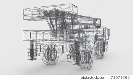 Mesh mobile crane. Three-dimensional illustration. 3d rendering. 73975390