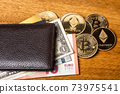 Wallet with bitcoins ethereum euro and dollar bills 73975541