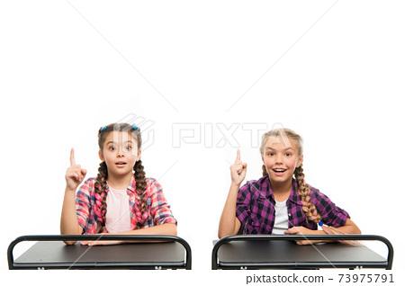 Brain storming. Idea concept. Students classmates sit desk 73975791