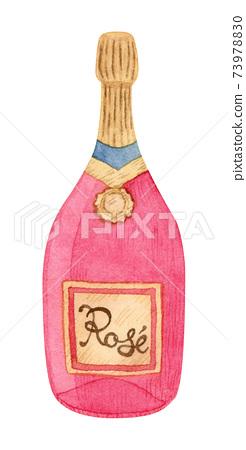 손으로 그린 수채화 | 핑크 로즈 와인 병 일러스트 73978830