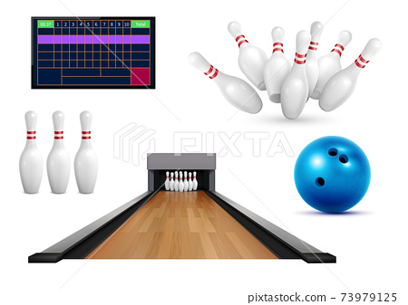Bowling Game Realistic Icons 73979125