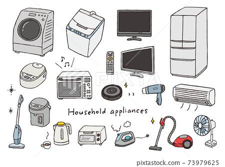 各種家用電器的手繪插圖(彩色) 73979625