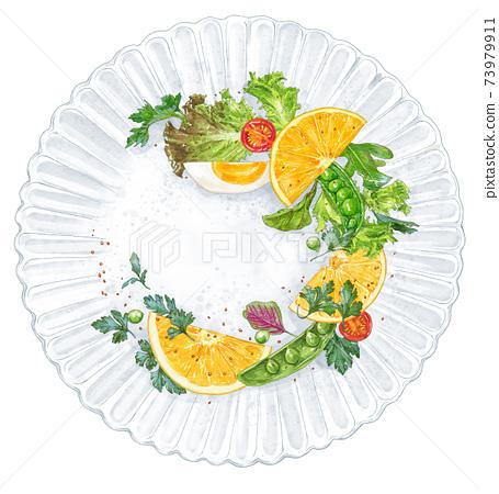 沙拉配美麗的水果的插圖 73979911