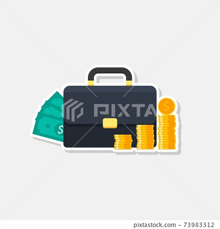 Briefcase, Dollar money cash icon, Gold coin stack White Stroke and Shadow icon vector isolated. 73983312